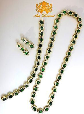 70.72CT NATURAL TSAVORITES DIAMOND BRACELET EARRINGS NECKLACE SUITE