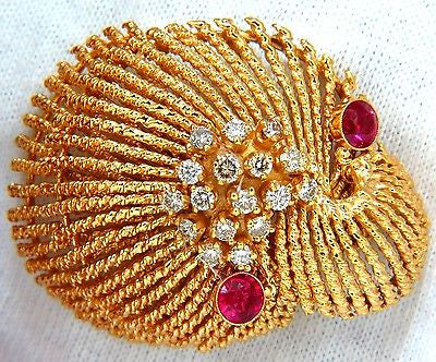 14KT VINTAGE 1.25CT DIAMOND 3D MOLLUSK SEA SHELL BROOCH PIN BARLEY TWIST