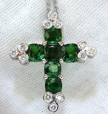 7.42CT NATURAL VIVID GREEN TSAVORITE DIAMONDS CROSS PENDANT 14KT