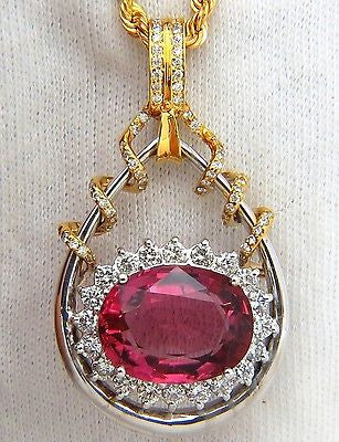 GIA 12.62CT NATURAL RUBELLITE PINK TOURMALINE DIAMONDS PENDANT 18KT RARE