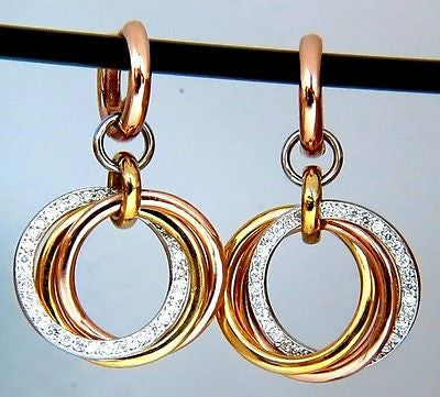 TRI COLOR GOLD 14KT .77CT ROUND DIAMONDS ROLLING RINGS DANGLE EARRINGS