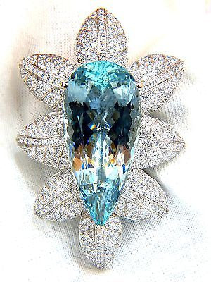 69.37 GIA NATURAL AQUAMARINE DIAMONDS 3D SNOWFLAKE PENDANT BROOCH 18KT