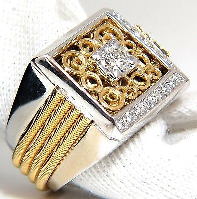 18kt mens .60ct diamond ring coil wrap 3d tourbillon still life deco & heavy