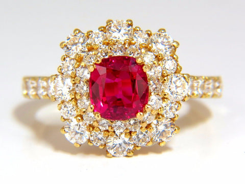 GIA Certified 3.24ct red origin ruby diamonds ring 18kt cocktail petite