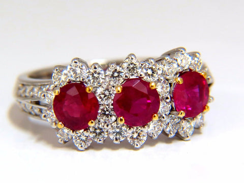 2.52ct natural vivid red ruby diamonds ring 14kt three stone halo class
