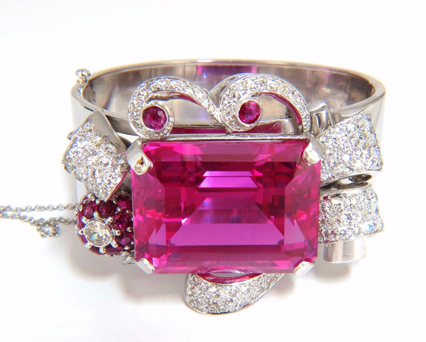 Pink Sapphire Diamonds Ruby Bangle Bracelet Parisian Posh Deco