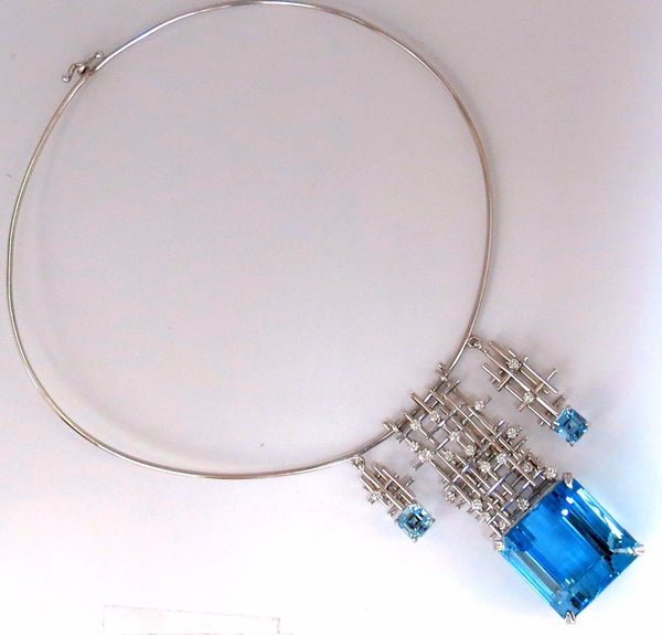 GIA Certified 117ct natural blue topaz diamonds necklace 18kt