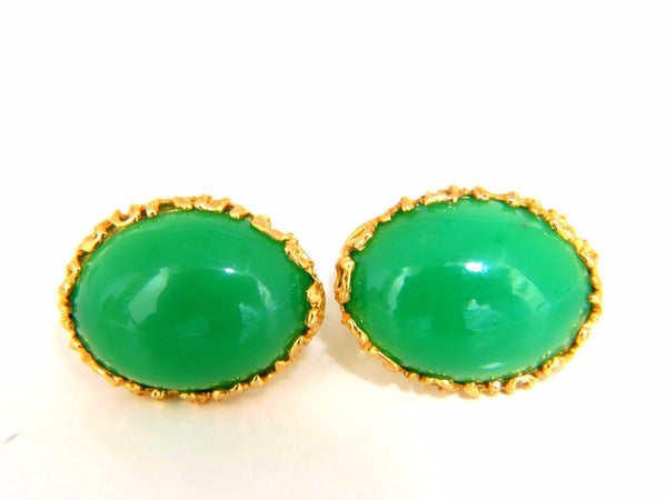 24ct Green Marcasite Earring Clips 14kt gold