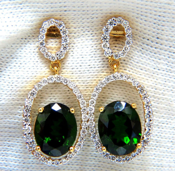 6.80ct natural green diopside diamonds dangle earrings 14kt