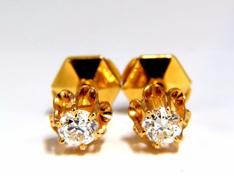 .50ct natural round single cut diamond stud earrings 14kt victorian