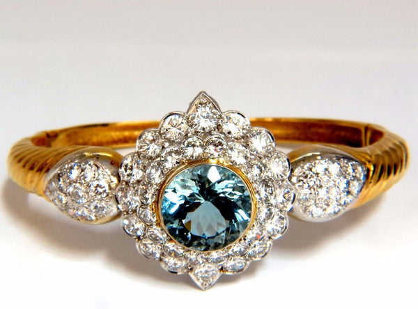 Aquamarine diamonds bangle bracelet 18kt 15.50ct Natural Italian Cluster