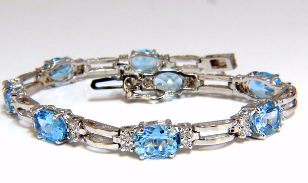 9.84ct natural aquamarine diamonds tennis bracelet 14kt vivid prime aqua blue