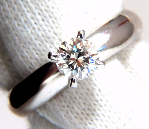 GIA Certified .51ct E.Vs2 natural round diamond ring platinum simplicity