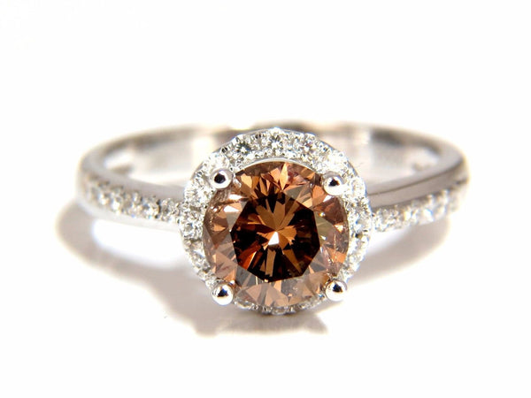 1.78ct natural fancy vivid orange brown diamond ring 18kt