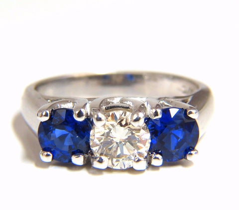 2.48ct natural sapphires diamond three stone ring 14kt lucy royal blue