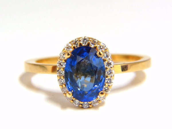 2.18ct natural vivid blue sapphire diamonds ring 18kt petite halo