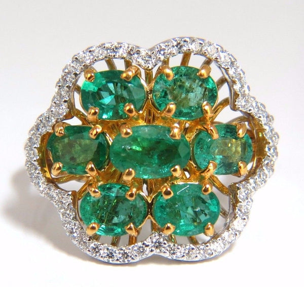 3.02ct Natural oval Emeralds diamond cocktail cluster ring 14kt G/Vs