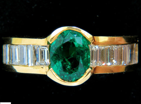 NATURAL 2.20CT VIVID GREEN EMERALD DIAMOND RING BAGUETTE VS