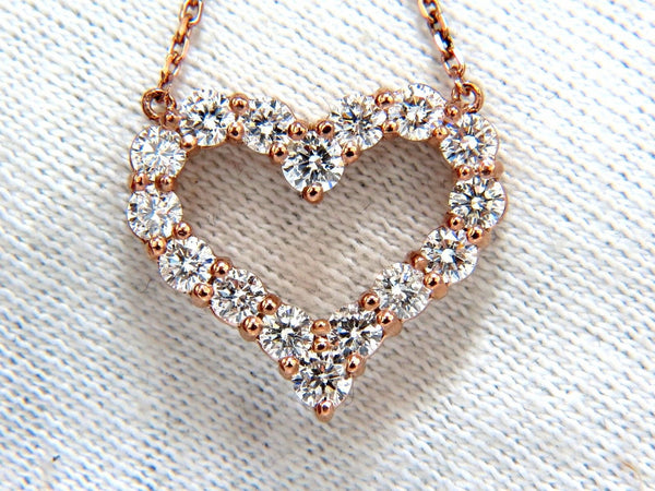 1.52ct natural diamonds heart necklace 14kt rose gold G/VS