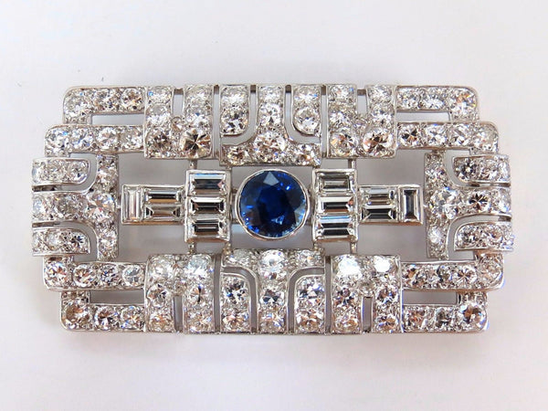 GIA Certified 7.02ct natural round sapphire diamond platinum brooch art deco