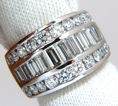 4.30ct diamonds three row channel baguette & rounds wide band