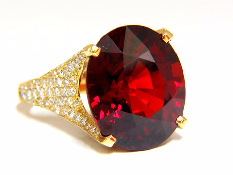 26.31ct GIA Natural Red Spessartite Garnet Diamonds Raised Crown Ring 18KT