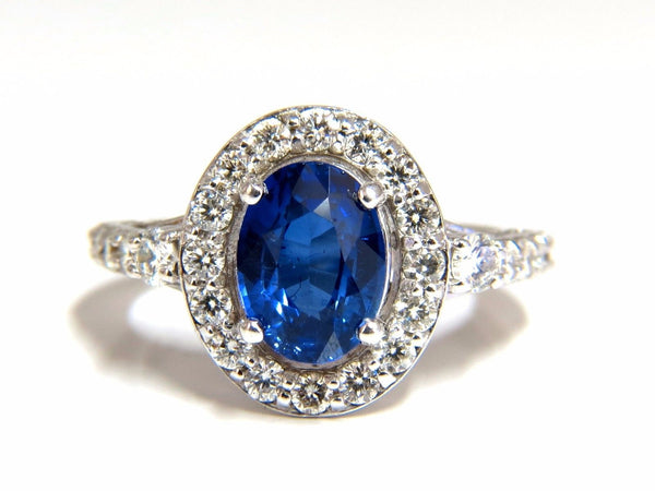 GIA Certified 3.38ct natural royal blue sapphire ring halo cluster