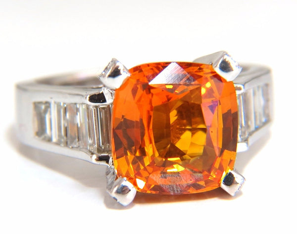 GIA Certified 6.41ct natural citrus bright vivid orange sapphire diamonds ring