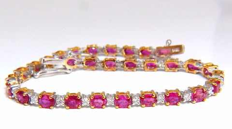 6.88ct bright red natural ruby diamonds alternating tennis bracelet 14kt
