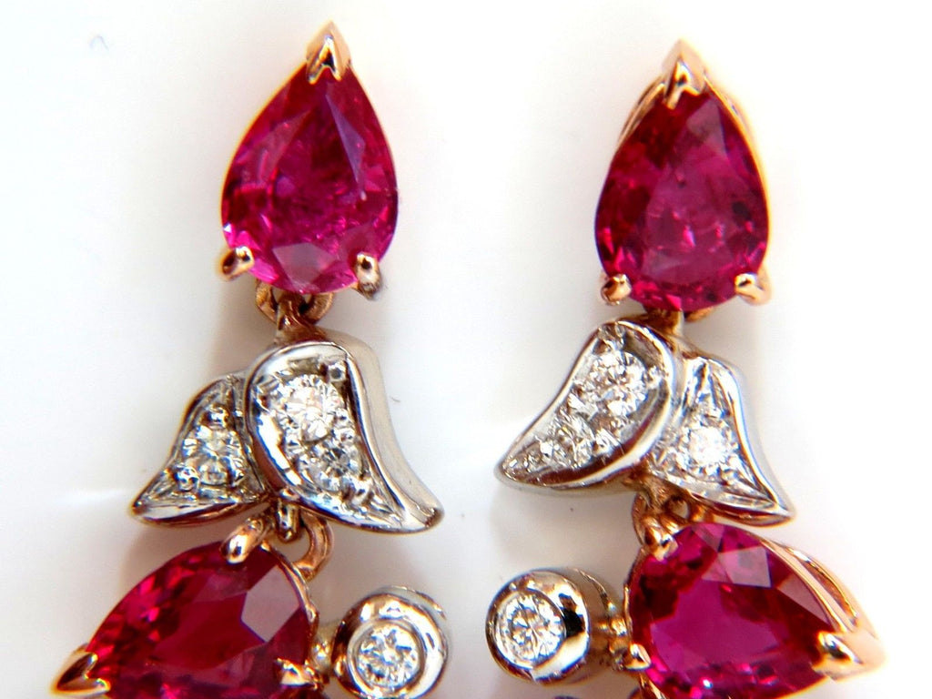 1088ct Natural Red No Heat Ruby Diamond Dangle Earrings 18kt Unheated