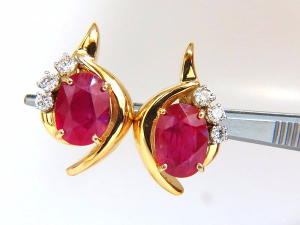 13.00ct Clarity enhanced ruby natural diamond earrings 14kt