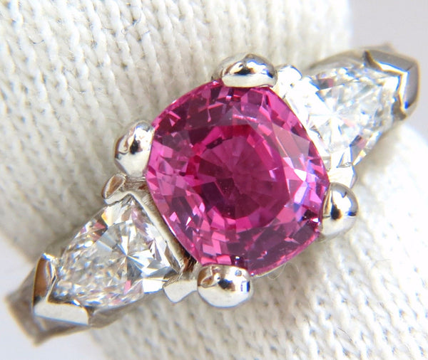 AGL Certified Natural Pink Sapphire Shield cut diamond ring platinum arthritis