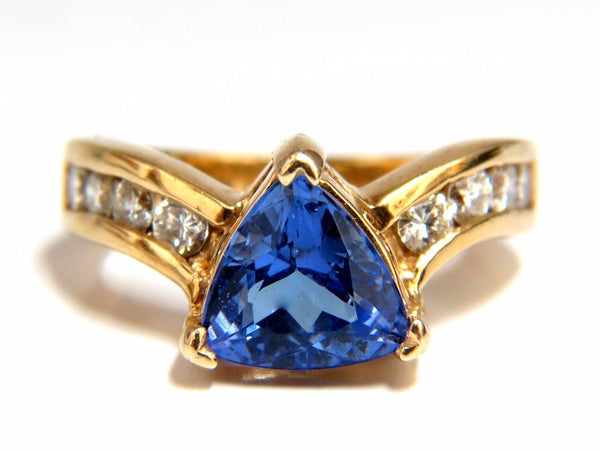 1.50ct natural trilliant tanzanite diamonds ring 14kt.