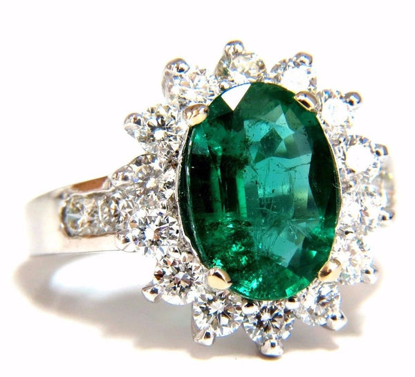4.02ct Natural oval Emerald diamond cocktail halo ring 18kt G/Vs