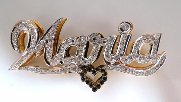 Maria Brooch Pin 2.00ct natural sapphire diamonds 14kt