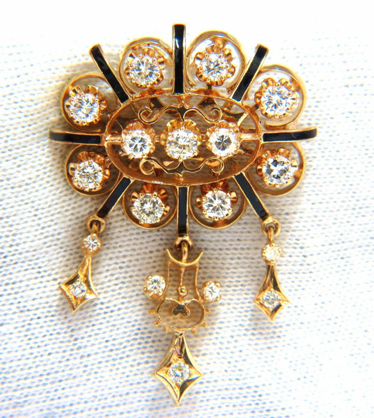 1.50ct diamonds tassel 1960's pendant brooch pin 14kt.