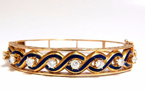 Victorian Ridged Interwoven Braided Handmade Diamond bangle bracelet 14kt