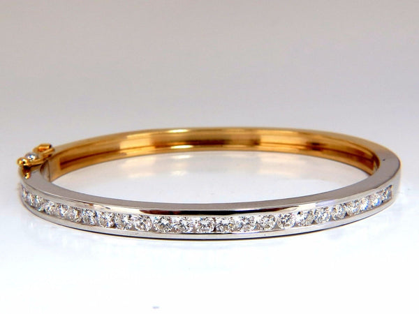2.80ct natural round diamonds bangle bracelet 14kt g.vs straight channel