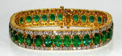 32CT NATURAL VIVID GREEN EMERALD DIAMOND BRACELET G/VS MULTIROW