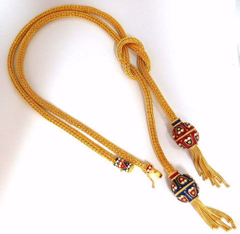 18kt Sailor's Knot Enameled Weave Necklace Long Bolo Tassel Deco 132 grams