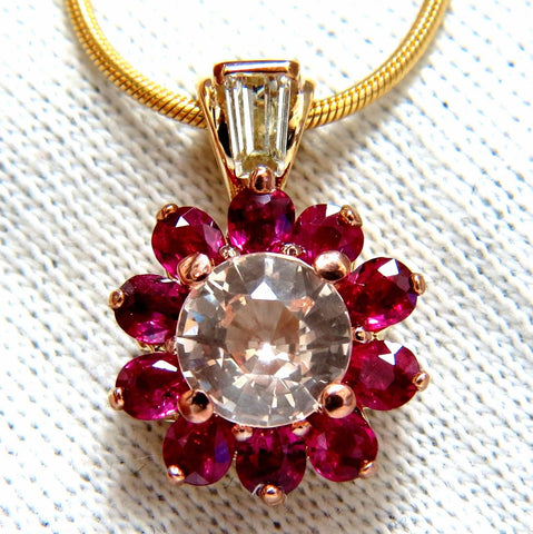 4.27ct natural pink sapphire ruby diamonds necklace 14kt