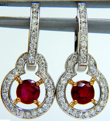 2.40CT NATURAL FINE GEM RED RUBY DIAMOND EARRINGS DANGLE HOOP 14KT