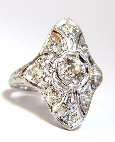 Antique 1.62ct old mine round natural diamonds ring platinum