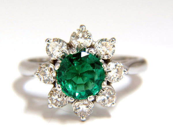 1.72ct natural vivid bright green emerald diamonds ring 14kt