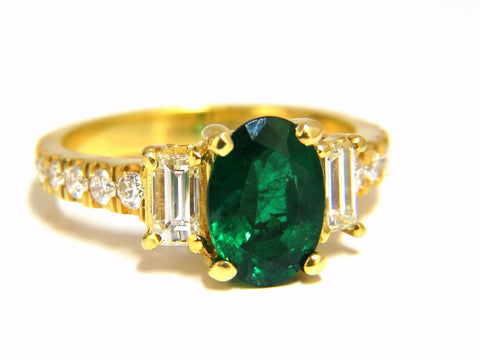 GIA Certified 2.68ct natural emerald diamonds ring 18kt