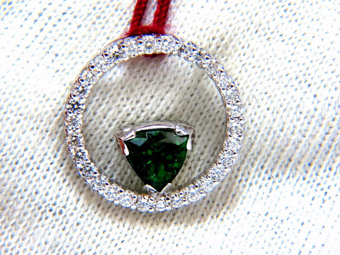 1.55ct Natural Tsavorite diamonds circle pendant 14kt