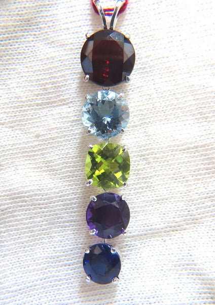 16.00ct natural Garnet Aquamarine Peridot Amethyst Kyanite drop pendant 14kt