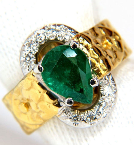 18KT 1.90CT NATURAL EMERALD DIAMOND RING SCALING PATTERN CLIP OVER DESIGN