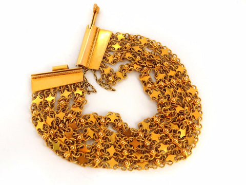 18kt. yellow gold vintage wide caliber bracelet mesh Hinged linked beads 7.50