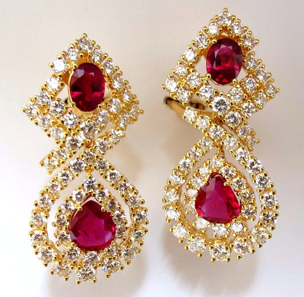 18.96ct GIA Certified natural red ruby diamond dangle earrings 18kt